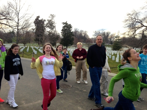 Lively teens at Arlington National Cemetery