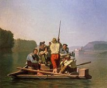 Lighter Relieving the Steamboat Aground (George Caleb Bingham) [PD-US]